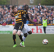 Dundee's Christian Nade and Alloa Athletic's James Michael Doyle - Alloa Athletic v Dundee, SPFL Championship at Recreation Park, Alloa<br /> <br />  - &copy; David Young - www.davidyoungphoto.co.uk - email: davidyoungphoto@gmail.com