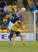 Dundee's Gary Irvine heads clear with Livingston's Mark McNulty unable to challenge - Livingston v Dundee, IRN BRU Scottish Football League, First Division - ..© David Young - .5 Foundry Place - .Monifieth - .Angus - .DD5 4BB - .Tel: 07765 252616 - .email: davidyoungphoto@gmail.com.web: www.davidyoungphoto.co.uk