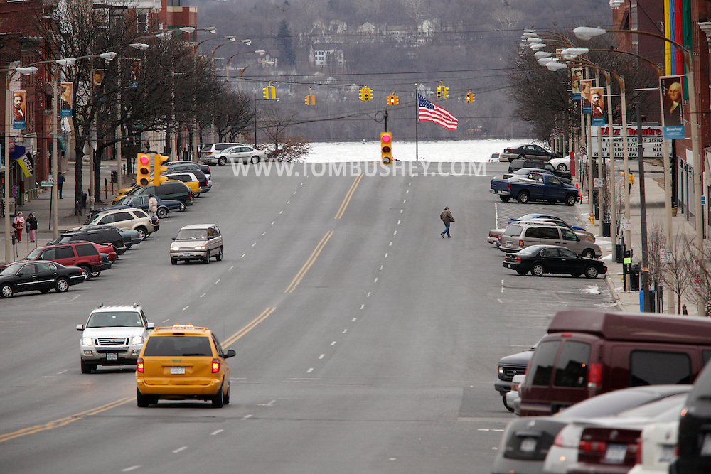 Newburgh, NY - A view down Broadway with the ice-covered Hudson River in the background on Jan. 30, 2010.