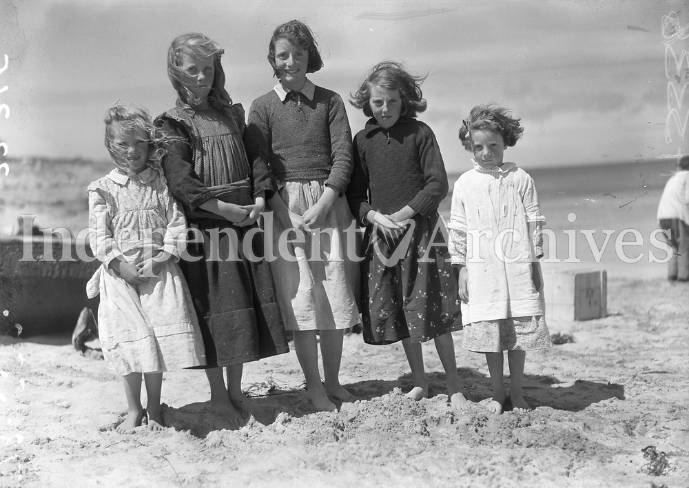 H3338<br /> Visit to Aran Islands. Group of young girls in Island Dress. c 1938. (Part of the Independent Newspapers/NLI Collection)