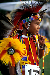 Young American Indian Boy in Costume at Taos Pueblo Pow Wow