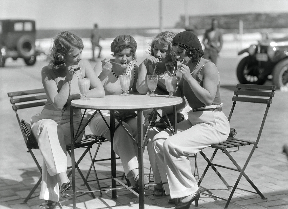 Girls at a Café at Bondi Beach, Sydney, Australia, 1930