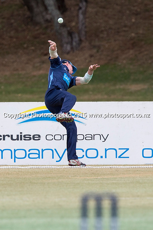 Aces` Glenn Phillips drops a catch in the Ford Trophy Final, Mondiale Auckland Aces v Devon Hotel Central Stags, Colin Maiden Park, Auckland, New Zealand, Sunday, February 01, 2015. Copyright photo: David Rowland/www.photosport.co.nz