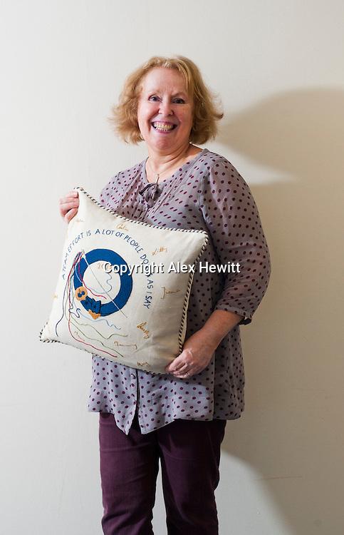 Great Tapestry of Scotland.  Portrait of Chief Stitcher Dorie Wilkie<br /> picture by Alex Hewitt<br /> alex.hewitt@gmail.com<br /> 07789 871 540