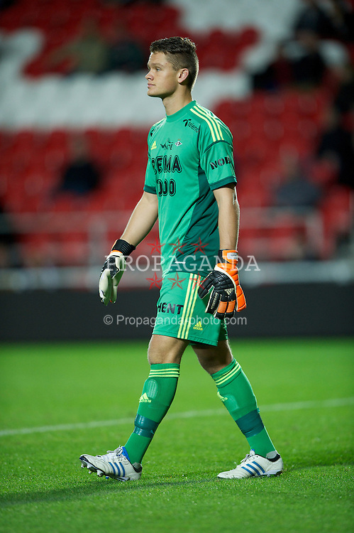 ST HELENS, ENGLAND - Tuesday, November 13, 2012: Rosenborg BK's goalkeeper Jacob Storevik in action against Liverpool during the NextGen Series Group 5 match at Langtree Park. (Pic by David Rawcliffe/Propaganda)