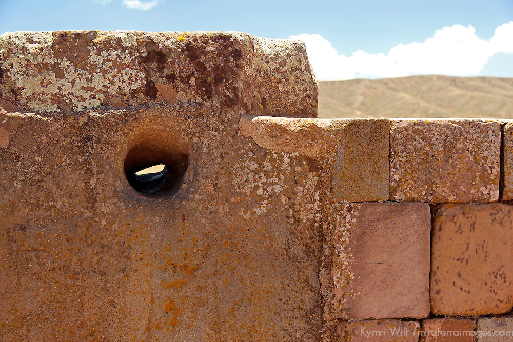 South America, Bolivia, Tiwanaku. Megaphone stone at Pre-Columbian archaeological site of Tiwanaku, a UNESCO World Heritage Site.