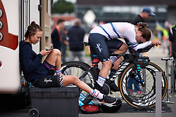 Kasia Niewiadoma (POL) relaxes ahead of the Boels Ladies Tour 2019 - Prologue, a 3.8 km individual time trial at Tom Dumoulin Bike Park, Sittard - Geleen, Netherlands on September 3, 2019. Photo by Sean Robinson/velofocus.com
