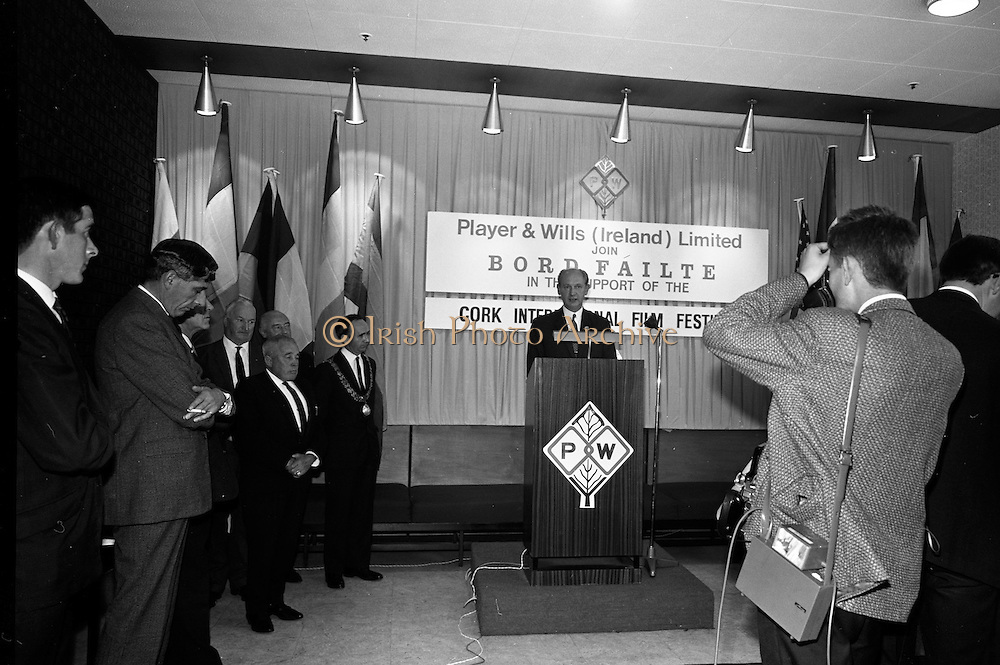 17/08/1967<br /> 08/17/1967<br /> 17 August 1967<br /> Player and Wills (Ireland) Ltd. give development grant to Cork Film Festival at Player and Wills headquarters, South Circular Road, Dublin. Picture shows Taoiseach Jack Lynch, addressing the reception.
