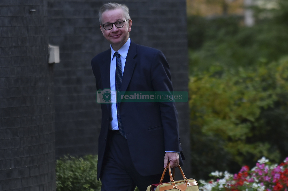 October 9, 2018 - London, England, United Kingdom - Secretary of State for Environment, Food and Rural Affairs Michael Gove arrives at 10 Downing Street to attend the first Cabinet Meeting after conferences recess, London on October 9, 2018. (Credit Image: © Alberto Pezzali/NurPhoto via ZUMA Press)