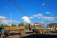 Truck hauling school children in Rodas, Cienfuegos, Cuba.