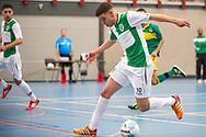 Zaalvoetbal Gouda Eerste Divisie 2014-2015 Watergras - ZVV Den Haag: Hamza Mehrach van Watergras (groen wit)