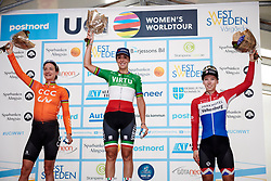 Top three: Marta Bastianelli (ITA), Marianne Vos (NED) and Lorena Wiebes (NED) at Postnord UCI WWT Vårgårda WestSweden Road Race, a 145.3 km road race in Vårgårda, Sweden on August 18, 2019. Photo by Sean Robinson/velofocus.com