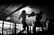 NAIROBI, KENYA - MARCH 18, 2010: Athletes spar during a boxing tournament featuring the Kibera Olympic Boxing Club, Kenya Prisons and the Kenya Police and Armed Forces (AFABA). Each year, Kibera Olympic boxers aspire individually to make the national team, and the opportunity to compete in the annual Kenya Open boxing tournament. In previous years, boxers from Kibera slum have gone on to win tournaments on both the national and international stage.<br />
