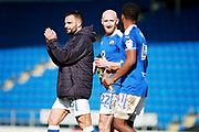 Chesterfield defender Drew Talbot (22)  and Chesterfield midfielder Zavon Hines (41)  after the EFL Sky Bet League 2 match between Chesterfield and Notts County at the Proact stadium, Chesterfield, England on 25 March 2018. Picture by Nigel Cole.