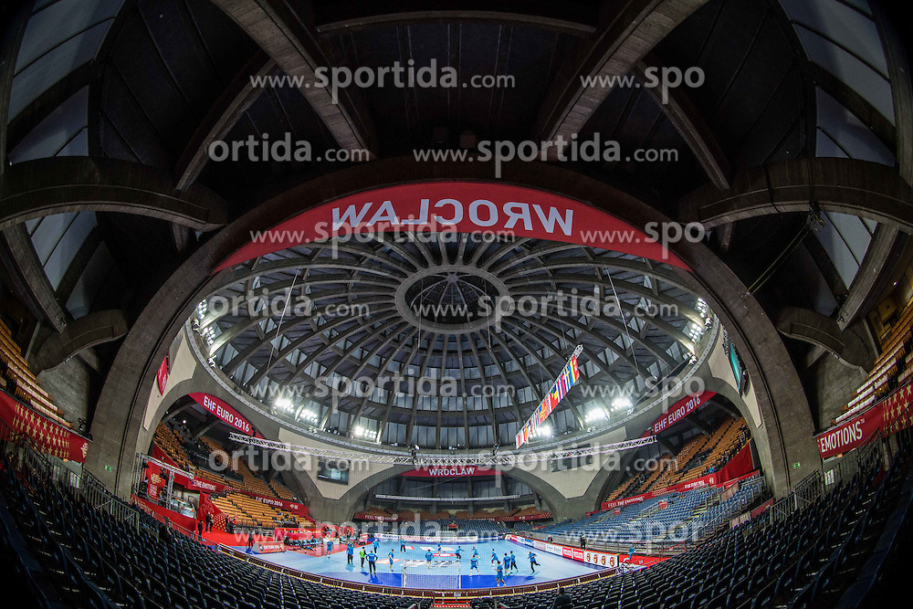 Arena during practice session of Team Slovenia on Day 1 of Men's EHF EURO 2016, on January 15, 2016 in Centennial Hall, Wroclaw, Poland. Photo by Vid Ponikvar / Sportida