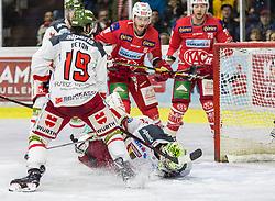 22.03.2019, Stadthalle, Klagenfurt, AUT, EBEL, EC KAC vs HCB Suedtirol Alperia, Viertelfinale, 5. Spiel, im Bild Alex PETAN (HCB Suedtirol Alperia, #19), Jacob SMITH (HCB Suedtirol Alperia, #1), Stefan GEIER (EC KAC, #19), Mich WAHL (EC KAC, #79) // during the Erste Bank Icehockey 5th quarterfinal match between EC KAC and HCB Suedtirol Alperia at the Stadthalle in Klagenfurt, Austria on 2019/03/22. EXPA Pictures © 2019, PhotoCredit: EXPA/ Gert Steinthaler