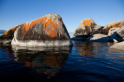 """Boulders on Lake Tahoe 20"" - These orange, black, and grey boulders were photographed in the early morning near Speedboat Beach, Lake Tahoe."