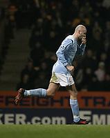 Photo. Digitalsport<br /> Norwich City v Manchester City. 28/02/05.<br /> Barclays Premiership.<br /> Antoine Sibierski celebrates.