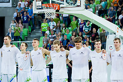 Uros Slokar of Slovenia, Klemen Prepelic of Slovenia, Edo Muric of Slovenia, Jaka Blazic of Slovenia, Miha Zupan of Slovenia, Goran Dragic of Slovenia and Zoran Dragic of Slovenia listening to the national anthem during friendly basketball match between National Teams of Slovenia and Brasil at Day 2 of Telemach Tournament on August 22, 2014 in Arena Stozice, Ljubljana, Slovenia. Photo by Vid Ponikvar / Sportida