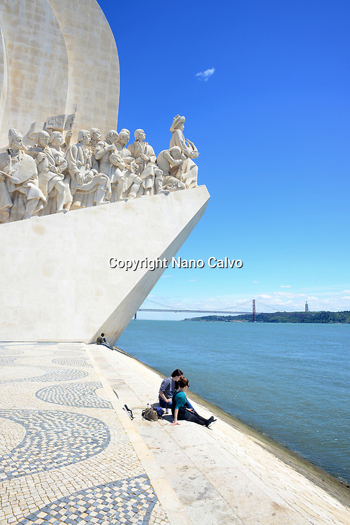 "The Monument to the Discoveries (in Portuguese ""Padrão do Descobrimentos""), created by Cottinelli Telmo (1897–1948) and the sculptor Leopoldo de Almeida (1898–1975), was first erected in 1940, Belem, Lisbon."