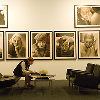 Inge Freedmen, 89, admires the Hurrel Estate vintage photo collection during the 18th Annual International Los Angeles Photographic Art Exposition at the historic Barker Hanger on Friday, January 3, 2009. Photo LA is the largest exhibition of its kind in the United States.