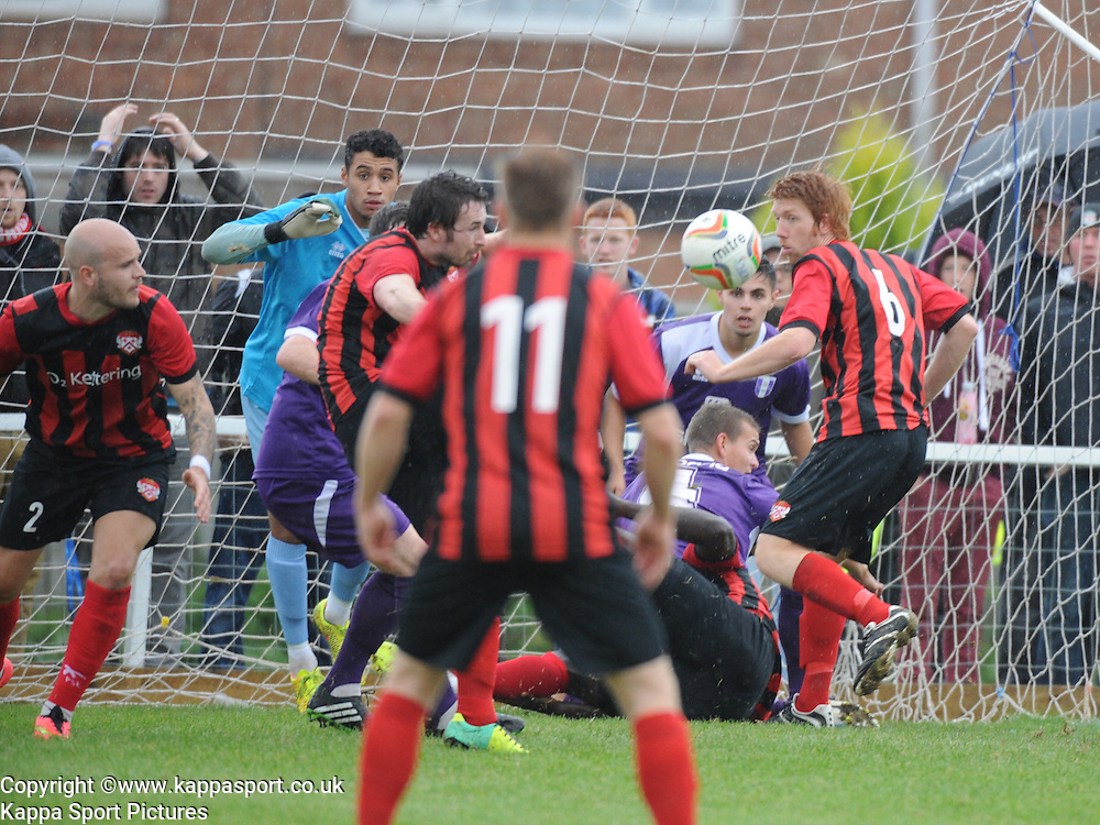Kettering try everything to score, after the Ball is kicked of the line, Kettering Town v Daventry Town Southern League Division One Central, 25th August 2014