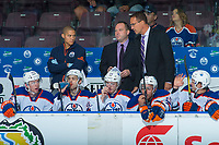 PENTICTON, CANADA - SEPTEMBER 9: The Edmonton Oilers bench on September 9, 2017 at the South Okanagan Event Centre in Penticton, British Columbia, Canada.  (Photo by Marissa Baecker/Shoot the Breeze)  *** Local Caption ***