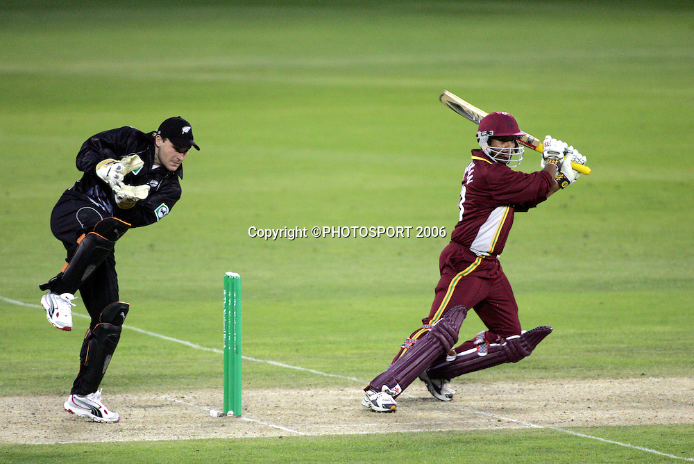 West Indies batsman Ramnaresh Sarwan hits out during the third ODI cricket match between the Black Caps and West Indies at Jade Stadium, Christchurch, New Zealand, on Saturday 25 February, 2006. New Zealand won the match by 21 runs to win the 5 match series 3-0. Photo: Andrew Cornaga/PHOTOSPORT.<br /><br /><br />147175