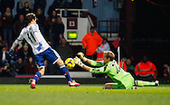 Picture by David Horn/Focus Images Ltd +44 7545 970036<br /> 23/11/2013<br /> Jussi Jaaskelainen of West Ham United is about to foul Oscar of Chelsea for a penalty during the Barclays Premier League match at the Boleyn Ground, London.