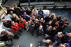 Slovenian hockey team  at whale watching boat when Poloncic (18), Golicic (17), Rebolj (27) and Razingar (9) were celebrating an anniversary of playing for Slovenian National Team for 100 (120) times, during IIHF WC 2008 in Halifax,  on May 07, 2008, sea at Halifax, Nova Scotia,Canada.(Photo by Vid Ponikvar / Sportal Images)