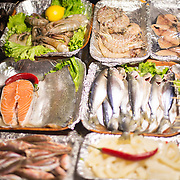 Fresh fish and other seafood at a vendor at the Karakoy fish market.