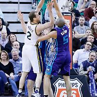 27 January 2016: Utah Jazz forward Joe Ingles (2) is blocked by Charlotte Hornets guard Nicolas Batum (5) during the Utah Jazz 102-73 victory over the Charlotte Hornets, at the Vivint Smart Home Arena, Salt Lake City, Utah, USA.