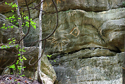 25 September 2012:   Illinois scenery near Oglesby and Ottawa..Matthiessen State Park. a bit of a graffiti symbol is scrawled in the sandstone along a Hiking trail in the Upper Dells area .