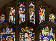 Victorian 19th century stained glass window, Lawshall church, Suffolk, England, UK by Horwood Bros - angle sin heaven