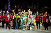 Ceremonial Gourd Dancing takes place prior to Grand Entry as part of the 31st annual Gathering of Nations Powwow, Albuquerque, New Mexico.