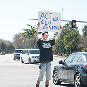 FRIDAY, FEBRUARY 16- 2018---CORAL SPRINGS, FLORIDA--<br /> Josh Levine, 17, joins an impromptu gun control rally with a handful of friends following the  school massacre at Marjory Stonemason Douglass High School. Levine says he lost a friend to the shooting.<br /> (Photo by Angel Valentin/FREELANCE)