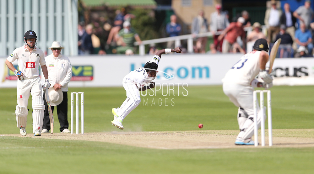 Fidel Edwards bowling to Chris Nash  during the LV County Championship Div 1 match between Sussex County Cricket Club and Hampshire County Cricket Club at the BrightonandHoveJobs.com County Ground, Hove, United Kingdom on 8 June 2015.