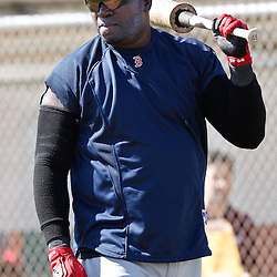 February 19, 2011; Fort Myers, FL, USA; Boston Red Sox first baseman David Ortiz (34) during spring training at the Player Development Complex.  Mandatory Credit: Derick E. Hingle