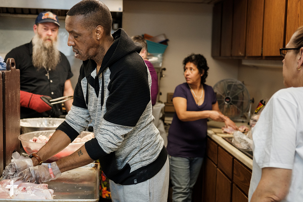 Volunteer Rodney Rich works in the kitchen as he helps others prepare the daily meal at Family of God on Wednesday, March 28, 2018, in Detroit. LCMS Communications/Erik M. Lunsford