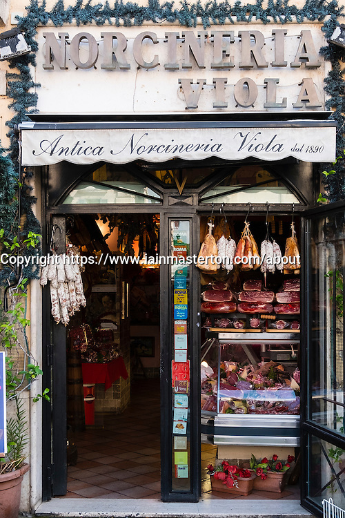 Traditional salumeria , meat and sausage shop,Antica Norcineria on  Viola on Campo de Fiori, Rome Italy