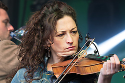 London, March 13th 2016. The annual St Patrick's Day Festival takes place in Trafalgar Square with performances on stage and plenty of Irish food and drink for the thousands of revellers.  PICTURED: The Craicheads perform on stage. ©Paul Davey<br /> FOR LICENCING CONTACT: Paul Davey +44 (0) 7966 016 296 paul@pauldaveycreative.co.uk