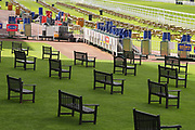 Empty seats awaiting the crowds at York Racecourse before the second day at the York Dante Meeting at York Racecourse, York, United Kingdom on 17 May 2018. Picture by Mick Atkins.