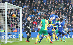 Cameron Jerome of Norwich City (2nd R) heads wide - Mandatory byline: Jack Phillips/JMP - 27/02/2016 - FOOTBALL - King Power Stadium - Leicester, England - Leicester City v Norwich - Barclays Premier League