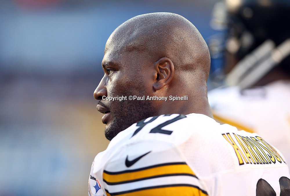 Pittsburgh Steelers outside linebacker James Harrison (92) looks on from the sideline during the 2015 NFL week 5 regular season football game against the San Diego Chargers on Monday, Oct. 12, 2015 in San Diego. The Steelers won the game 24-20. (©Paul Anthony Spinelli)