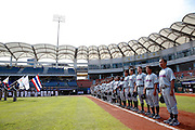 NEW TAIPEI CITY, TAIWAN - NOVEMBER 16:  Members of Team Thailand are seen on the base path during the national anthems before Game 3 of the 2013 World Baseball Classic Qualifier against Team New Zealand at Xinzhuang Stadium in New Taipei City, Taiwan on Friday, November 1, 2012.  Photo by Yuki Taguchi/WBCI/MLB Photos