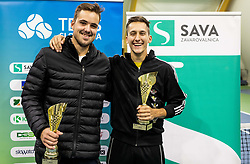 Aljaz Jakob Kaplja and Bor Muzar Schweiger at trophy ceremony after the final match during Slovenian men's doubles tennis Championship 2019, on December 29, 2019 in Medvode, Slovenia. Photo by Vid Ponikvar/ Sportida