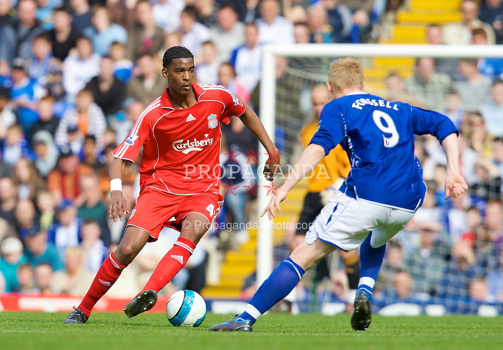 BIRMINGHAM, ENGLAND - Saturday, April 26, 2008: Liverpool's Damien Plessis in action against Birmingham City during the Premiership match at St Andrews. (Photo by David Rawcliffe/Propaganda)