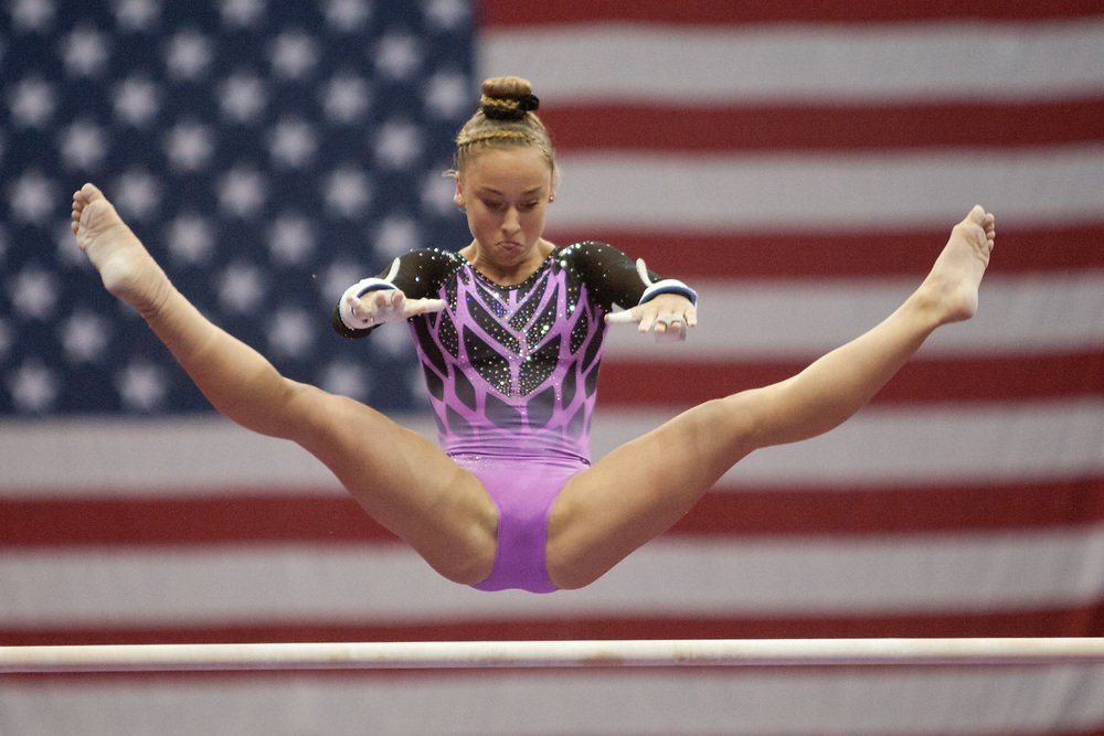 USA Gymnastics GK Classic - Schottenstein Center, Columbus, OH - July 28th, 2018. Audrey Davis competes on the bars at the Schottenstein Center in Columbus, OH; in the USA Gymnastics GK Classic in the senior division. Simone Biles won the allround with Riley McCusker second and Morgan Hurd third. - Photo by Wally Nell/ZUMA Press