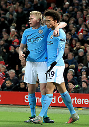 Manchester City's Leroy Sane (right) celebrates scoring his side's first goal of the game with team-mate Manchester City's Kevin De Bruyne (left) during the Premier League match at Anfield, Liverpool.