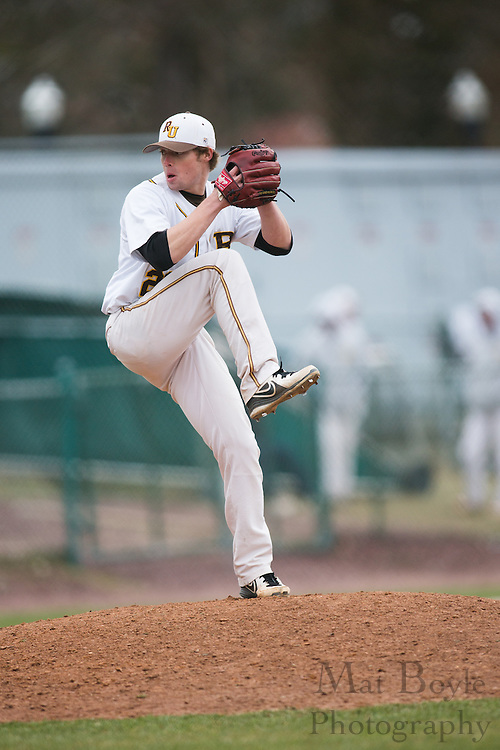 Rowan University Senior Left Handed Pitcher Kyle Brown (28)- Richard Stockton College Baseball at Rowan University at Rowan University in Glassboro, NJ on Thursday April 4, 2013. (photo / Mat Boyle)